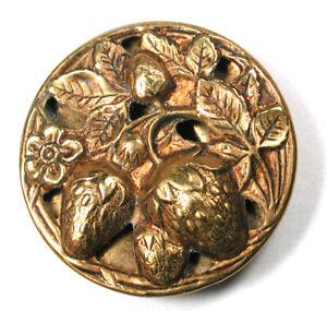 "Antique Brass Button Pierced Cluster of Strawberries 2 Piece Construc 1 & 1/8"""