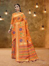 Bollywood Sari Indian Saree & Blouse Diwali Orange Woven Banarasi Silk -29799