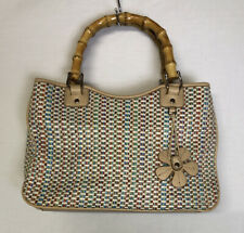 Relic Brand Multi Color Woven Purse with Wooden Bamboo Handles NWOT