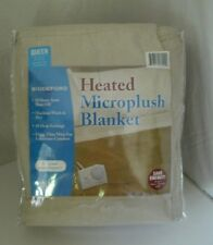 Biddeford Heated Microplush Blanket Queen Tan 2 Analog Controllers Auto Shut Off