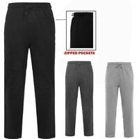 Mens Open Hem Bottoms Zip Pocket Joggers Jogging Fleece Casual Trousers Big Size