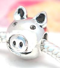 HANDMADE .925 SILVER EUROPEAN Charm Bead for Bracelet LUCKY PIG PIGGY HEAD H22