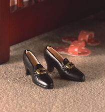 Black Ladies Shoes, Dolls Miniature Accessory, 1.12th Scale