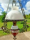32  Antique Chandelier Lampe Opaline Majolica  Stella Brenner