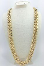 "Cuban Link Chain Gold Plated 30"" inches long, 18mm thick w Square Clasp Box Lock"