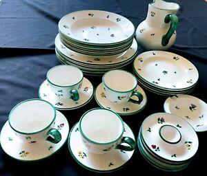 Gmundner Keramik Vintage Dinnerware set, 26 pcs hand painted, Austria
