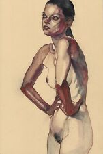 Elbows Of God 11x14in. Watercolor Nude Figure Leo Charre