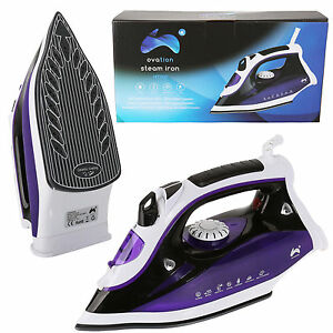 Ovation 2300W Electric Steam Iron Ceramic Soleplate White & Purple Self Cleaning