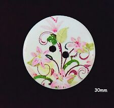 10 Large Wooden Round 30mm Pink Lilly Flower Pink White Buttons - BU1129