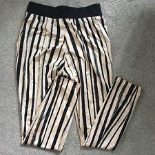 ASOS Pink White Black Striped Stripey Silk Trousers Joggers Pockets Size 6 8 XS