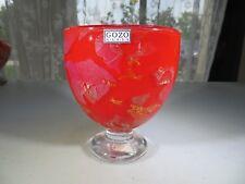 Gozo Malta heavy Pop Art Glass Red Coral goblet in manner of Jean Claude Novaro