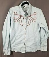 ROPER EMBROIDERED WESTERN COWBOY COWGIRL SNAP UP SHIRT Sz L Womens Blue