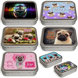 Personalised Pug Tobacco Tin 2oz Baccy Pill Storage Cigarette Birthday Gift Dog