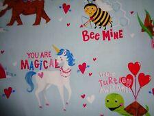 Handmade Cotton 2 pc. fitted crib sheet Blue/Valentine/Animals