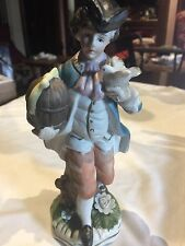 Royal Crown Hand Painted Porcelain Boy With Bird Figurine
