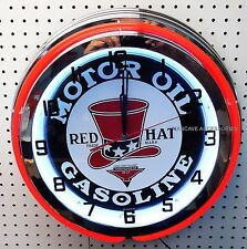 "18"" RED HAT Gasoline Motor Oil Sign Double Neon Clock Gas Station Lube"