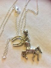 "Horse&lucky Shoe On A Sterling Silver*20""Chain"