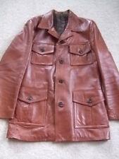 """Vintage original 60s 70s Tan brown Leather Mod Scooter Oakleaf Jacket Coat 38"""""""