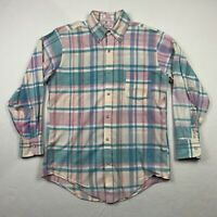Vintage Orvis Mens M Long Sleeve Button Up Multicolor Plaid Fishing Shirt USA