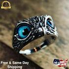 Fashion 925 Silver Blue Eye Owl Ring Women Jewelry Gift Animal Rings Adjustable