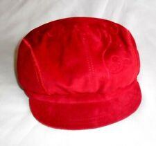 "Bobbub Red Embroidered SUEDE 24"" Beret Cap Flat Ivy Newsboy Gatsby Cabbie Golf"