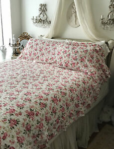 Vintage Twin Bedspread Coverlet Shabby Roses Pink Small Ruffle