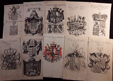 1751 HERALDRY - Lot of 10 COATS OF ARMS ENGRAVINGS 1751