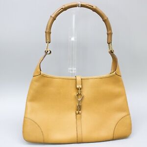 GUCCI BAMBOO JACKIE Leather O Hobo Shoulder Bag Purse Light Brown 001 4060 00205