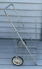 Vintage Metal Rolling Market Grocery Shopping Basket Cart Collapsible