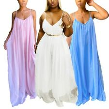 Women's Wide Leg Sexy Chiffon Jumpsuit Loose Full Length Solid Pleated Bodysuit