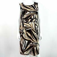 M&S UK 14 Linen Blend Dress Black Beige Cream Mix Pattern Sleeveless