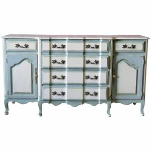 Painted Blue & White French Louis XV Country Sideboard Server Buffet C1960s