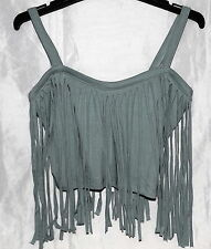 Supre Fringed Crop Top - Slate Grey - Small - Brand New with Tags!