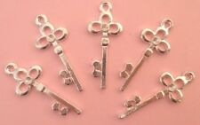 LOT de 10 PENDENTIFS perles breloque CLES CLEFS KEYS 32x13mm ARGENTE SANS NICKEL