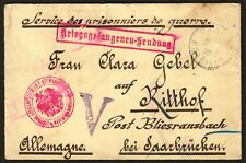 France Censored Stampless WWI German P.O.W. cover to Saar, 1916 Germany,