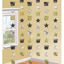 Plata, Oro y Negro Feliz Año Nuevo Estrella Cuerda Adornos X 6