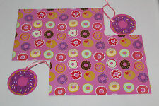 DOUGHNUTS DONUTS ADULT BIRTHDAY GIFT WRAPPING PAPER 2 SHEETS 50CM X 70CM 2 TAGS