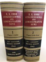 U.S. Code Congressional and Administrative News - Volume 1-2 1962 VTG law JFK