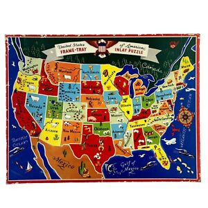 Puzzle of the United States of America Frame-Tray Inlay Puzzle - Vintage 1950's