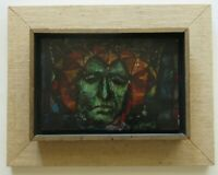 SCHNABEL FACE OIL PAINTING ABSTRACT CUBISM MODERNISM EXPRESSIONISM VINTAGE