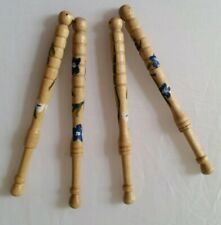 4  new hand-painted wooden lace bobbins