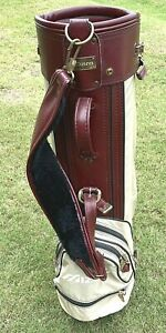 Vintage Mizuno Golf Club Cart Bag Carry Single Strap Burgundy And Tan