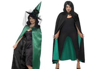Teal Black Cape Deluxe Reversible Witch Adults Halloween Fancy Dress
