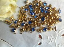 15 Swarovski Sapphire 5mm rhinestones in 1 loop setting (24ss) CRAFT Post Free