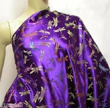 10 meters violet embroidered dragonfly Chinese faux silk brocade fabric