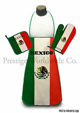 Mexico Kitchen & BBQ Set w Apron Oven Mitt Pot Holder FREE SHIPPING Mexican Flag