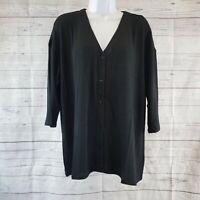 J Jill Wearever Collection Womens Ultrafine V-Neck Jacket Sweater Sz Large Black