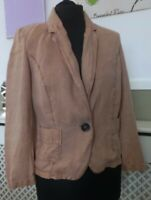 RIVER ISLAND Faded Tan Brown Casual Spring Jacket Blazer 100%  Linen Sz 8