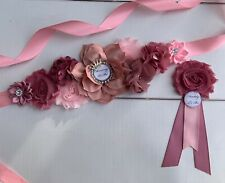 Dusty Pink ,Mauve Princess Maternity Sash Belt And Daddy Corsage