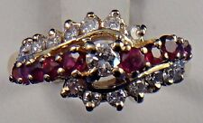 14k Solid Yellow Gold Diamond and Ruby Ring 0.35 ct TDW 0.30 ct Ruby Size 5.75